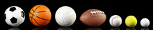 Various Balls Isolated On Black Background - Ball Sport Panorama