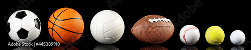 Fotografering Various balls isolated on white background - Ball Sport Panorama