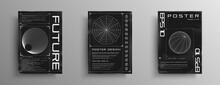 Set Of Retrofuturistic Posters With HUD Elements, Radial Figure, Polar Grid, And Wireframe 3d Sphere. Black And White Retro Cyberpunk Style Poster Cover Design. Vector