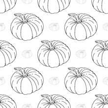 Autumn Black And Gray Pumpkins On  White Background Pattern.  Fall, Thanksgiving Holidays, Fabric, Textile. Seamless Repeat Swatch.