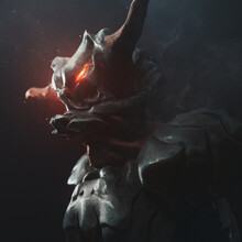 Portrait Of An Angry Alien Monster With Horns And Glowing Red Eyes In Medieval Metal Armor. Concept Art Of A Terrible Dark Knight Warrior. 3d Illustration Of A Fantasy Creepy Creature In Night Scene.