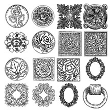 Set Of Square And Circle Flowers, Vintage Scroll Baroque Victorian Frame Elements. Rose Or Peony Like Floral Ornament Bloom Engraved Retro, Decorative Design In Marble Stone. Vector.