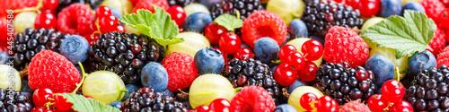 Foto Berries fruits berry fruit strawberries strawberry blueberries blueberry panoram