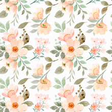 Blooming Watercolor Flower Seamless Pattern