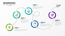 Infographic Design Template. Timeline Concept With 5 Steps