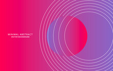Pink And Blue Gradient Background With White Circles, Line Art Vector Design, Modern Holographic Poster With Spiral Elements