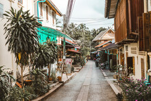 Empty Lane Amidst Houses, Luang Prabang, Laos
