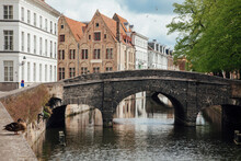 Belgium, West Flanders, Bruges, Augustijnenbrug Arching Over Augustijnenrei Canal