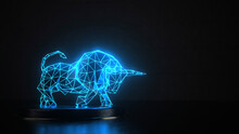 Three Dimensional Render Of Blue Glowing Wire-frame Model Of Bull