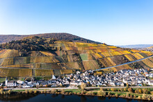 Germany, Rhineland-Palatinate,Helicopter View Of Countryside Village With Hillside Vineyards In Background