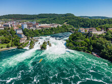 Aerial View OfRhine Falls And Surrounding Landscape In Summer
