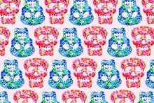 Pattern Of Rows Of Red And Blue Skull Masks Decorated With Floral Print
