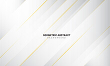 Luxury Geometric Shape Background. Gold, Grey And White Style. Template Design For Poster, Banner, Backdrop, Flyer, Etc