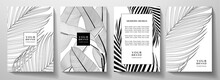 Tropical Black And White Cover Design Set. Floral Background With Line Pattern Of Exotic Leaf (palm, Banana Tree). Elegant Vector Collection For Wedding Invite, Brochure Template, Restaurant Menu