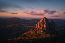 Stunning Sunset On The Cathedral Rock At Mount Buffalo, Victoria, Australia.