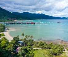 Aerial View Of Bang Bao Pier And The Lighthouse In Koh Chang, Trat, Thailand