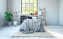 Cozy Empty Bedroom With Country Style Design And Double Bed