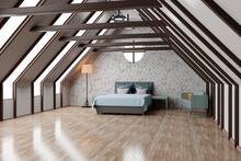 Three Dimensional Render Of Attic Bedroom With Shiny Wooden Floor