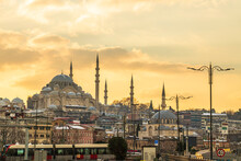Turkey, Istanbul, Moody Sky Over Fatih District At Sunset With Suleymaniye And Rustem Pasha Mosques In Background