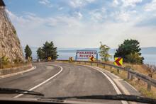 Car Driving Along Coastal Highway Toward Makarska Riviera