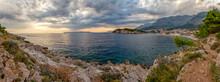 Panoramic View Of Makarska Riviera Bay At Cloudy Dusk