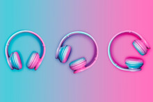 Studio Shot Of Three Pairs Of Pink And Blue Wireless Headphones