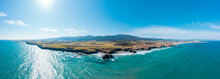 Aerial Panorama Of Sun Shining Over Beach Of Cathedrals