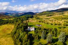 UK, Scotland, Aerial View Of Dalnaglar Castle And Surrounding Landscape