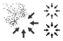 Destructed Pixelated Compact Arrows Glyph With Destruction Effect, And Halftone Vector Composition.