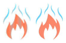 Pixelated Halftone Fire With Smoke Icon. Vector Halftone Collage Of Fire With Smoke Icon Designed Of Spheric Items.