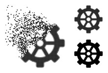 Disappearing Pixelated Gear Glyph With Destruction Effect, And Halftone Vector Composition. Pixelated Dissolution Effect For Gear Reproduces Speed And Movement Of Cyberspace Abstractions.