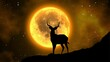 Silhouette of a deer under the light of the full moon