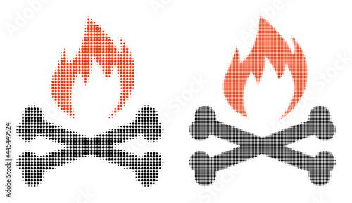 Fotografia, Obraz Dotted halftone hell fire bones icon