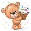 Cartoon Teddy Bear with Cupcake