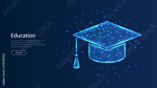 Fotografering Education, study low poly wireframe landing page template