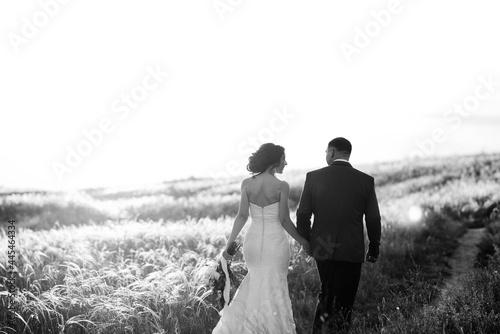A couple in love a guy and a girl on a walk in the forest belt Fototapet