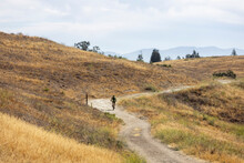 A Solo Mountain Biker In The Local Hills In The San Fernando Valley.