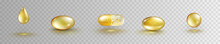 Oil Gold Elements Isolated On Transparent Background. Cosmetic Capsule Set Of Vitamin E, A Or Omega 3. Golden Antibiotic Gel Pill Icon Template. Vector Realistic Serum Droplet Of Collagen Essence