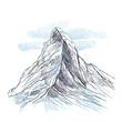 Alpy Rysunek ręcznie rysowany. Widok na górę Matterhorn