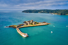 Aerial Drone Image Of St Aubn's Fort At High Tide In The Sunshine. Jersey Channel Islands