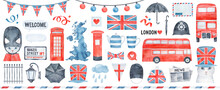 Big Watercolour Illustration Collection Of Traditional Signs Of United Kingdom: Union Jack National Flag, Black Classic Umbrella, Red Colored Bus, UK Silhouette, Cute Bunting, Blue Teapot And Teacup.
