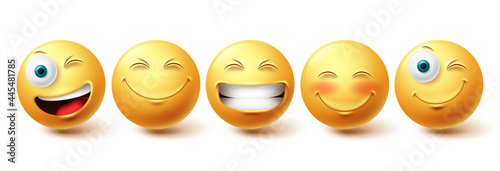 Smileys emoji happy face vector set. Smiley icons and emoticon with funny, happy and winking facial expressions in yellow color isolated in white background. Vector illustration