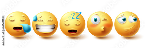 Smileys sleepy face vector set. Smiley yellow emoji with happy, blushing, snoring and sleeping collection isolated in white background for design elements. Vector illustration