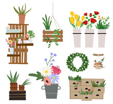 Plant Interior Props And Plants In Flower Shop. Flat Design Style Minimal Vector Illustration.