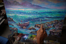 Oil  Color Painting Art Class , Sea ,wave ,birds,boat