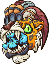 Cartoon Colorful Aztec Jaguar Warrior With Blue Skull. Vector Clip Art Illustration With Simple Gradients. All On A Single Layer.