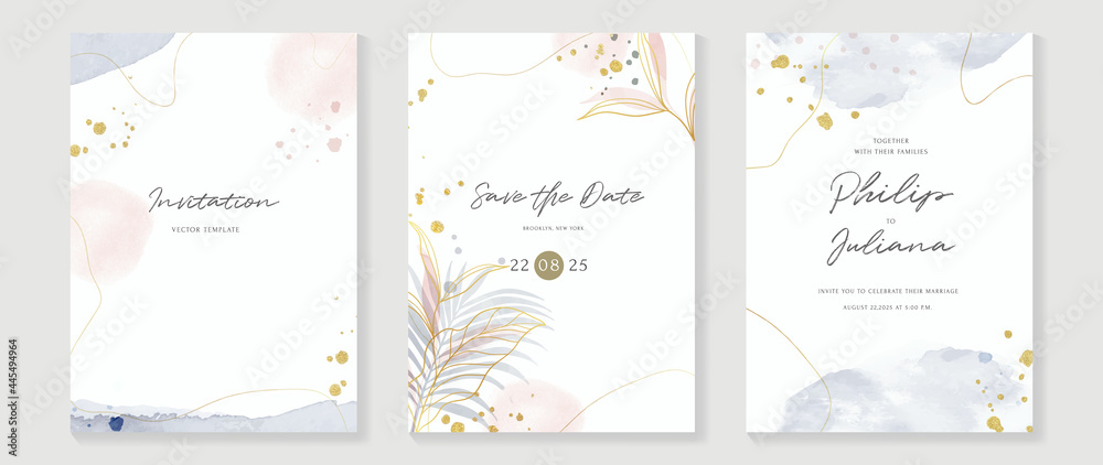 Obraz Abstract art background vector. Luxury invitation card background with golden line art flower and botanical leaves, Organic shapes, Watercolor. Vector invite design for wedding and vip cover template. fototapeta, plakat