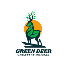 Vector Logo Illustration Green Deer Simple Mascot Style