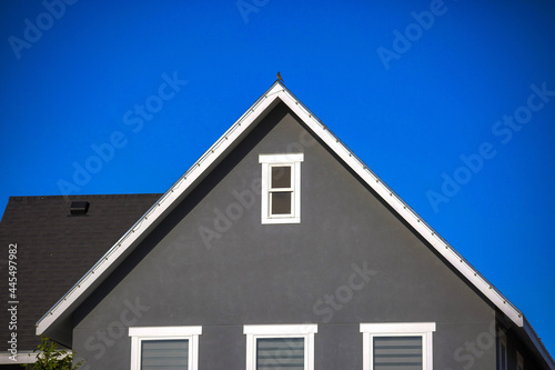Fotografie, Obraz Gray rooftop with attic windows under the sky
