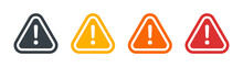 Caution Set, Danger Sign, Attention Vector Icon, Yellow, Red And Black Fatal Error Message Element, Exclamation Mark Of Warning Attention Icon